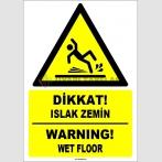 EF1522 - Türkçe İngilizce Dikkat Islak Zemin, Warning Wet Floor