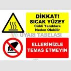 EF1537 - Dikkat! Sıcak Yüzey, Ciddi Yanıklara Neden Olabilir, Ellerinizle Temas Etmeyin
