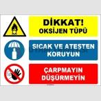 EF1611 - Dikkat Oksijen Tüpü, Sıcaktan ve Ateşten Koruyun, Çarpmayın, Düşürmeyin