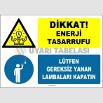 EF1615 - Dikkat! Enerji Tasarrufu, Lütfen Gereksiz Yanan Lambaları Kapatın