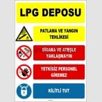 EF1639 - LPG Deposu, Sigara ve Ateşle Yaklaşmayın, Yetkisiz Personel Giremez, Kilitli Tut