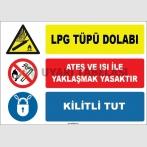 EF1645 - LPG Tüpü Dolabı, Ateş ve Isı İle Yaklaşmak Yasaktır, Kilitli Tut