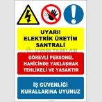 EF2054 - Uyarı! Elektrik Üretim Santralı Levhası