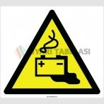 EF2109 - Dikkat Akü Şarj Alanı, Patlayıcı Ortam ve Asit Tehlikeleri İşareti