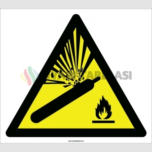 EF2112 - Dikkat Basınçlı Tüp Patlama Tehlikesi, Düşmeye Karşı Koruyun, Isı Kaynaklarından Uzak Tutun İşareti