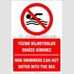EF2316 - Türkçe İngilizce Yüzme Bilmeyenler Denize Giremez, Non Swimmers Can Not Enter Into The Sea