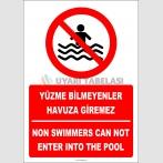 EF2324 - Türkçe İngilizce Yüzme Bilmeyenler Havuza Giremez, Non Swimmers Can Not Enter Into The Pool