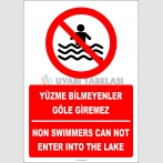 EF2321 - Türkçe İngilizce Yüzme Bilmeyenler Göle Giremez, Non Swimmers Can Not Enter Into The Lake