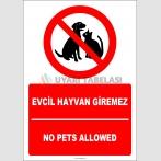 EF2465 - Türkçe İngilizce Evcil Hayvan Giremez, No Pets Allowed