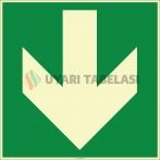 EF2005 - Fosforlu Aşağı Yönde Ok İşareti Levhası/Etiketi