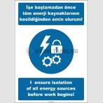 EF2532 - Türkçe İngilizce İşe Başlamadan Önce Tüm Enerji Kaynaklarının Kesildiğinden Emin Olurum