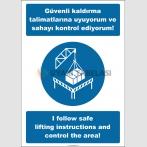 EF2534 - Türkçe İngilizce Güvenli Kaldırma Talimatlarına Uyuyorum ve Sahayı Kontrol Ediyorum