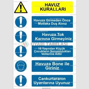 KT 4109 - Havuz kuralları uyarı tabelası