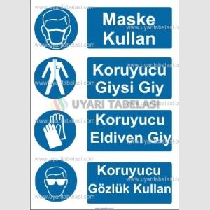 KKD4063 - Koruyucu maske, giysi, eldiven, gözlük kullan