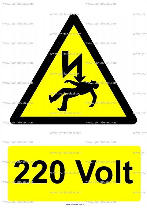 220 volt elektrik voltaj tehlike ikaz levhas uyar tabelas. Black Bedroom Furniture Sets. Home Design Ideas