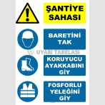 AT 1108 - Şantiye Sahası, Baretini Tak, Koruyucu Ayakkabını Giy, Fosforlu Yeleğini Giy
