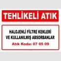 A070509 - Halojenli filtre kekleri ve kullanılmış absorbanlar