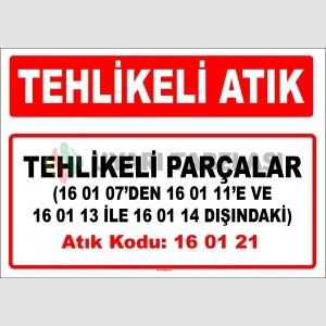 A160121 - 16 01 07'den 16 01 11'e ve 16 01 13 ile 16 01 14 dışındaki tehlikeli parçalar