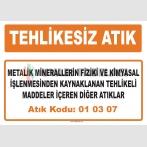 MA 010307 - Metalik minerallerin fiziki ve kimyasal işlenmesinden kaynaklanan tehlikeli maddeler içeren diğer atıklar