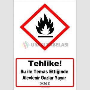 GHS 1035 - Tehlike, Su ile temas ettiğinde alevlenir gazlar yayar (H261)