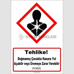 GHS1050 - Tehlike, Doğmamış çocukta hasara yol açabilir veya üremeye zarar verebilir (H360)