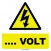 YT7286 - Elektrik tehlikesi (değeri siz bildirin) volt işareti levhası/etiketi
