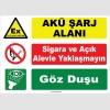 YT7575 - Akü şarj alanı, sigara ve açık alevle yaklaşmayın, göz duşu