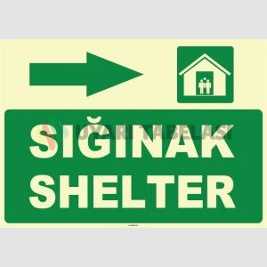 ZY1055 - Türkçe İngilizce Sığınak, Shelter, sağ tarafta