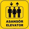 ZY1164 - Türkçe İngilizce Asansör/Elevator, sarı - siyah, kare