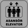 ZY1163 - Türkçe İngilizce Asansör/Elevator, gri - siyah, kare