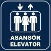 ZY1165 - Türkçe İngilizce Asansör/Elevator, lacivert - beyaz, kare