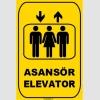 ZY1171 - Türkçe İngilizce Asansör/Elevator, sarı - siyah, dikdörtgen