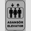 ZY1170 - Türkçe İngilizce Asansör/Elevator, gri - siyah, dikdörtgen