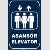 ZY1169 - Türkçe İngilizce Asansör/Elevator, lacivert - beyaz, dikdörtgen