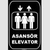 ZY1168 - Türkçe İngilizce Asansör/Elevator, siyah - beyaz, dikdörtgen