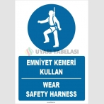 ZY1383 - Türkçe İngilizce, Emniyet Kemeri Kullan, Wear Safety Harness