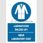 ZY1393 - Türkçe İngilizce, Laboratuvar Önlüğü Giy, Wear Laboratory Coat