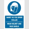 ZY1413 - Türkçe İngilizce, Baret ve yüz siperi kullan, Wear helmet and face shield