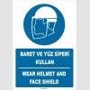 ZY1412 - Türkçe İngilizce, Baret ve yüz siperi kullan, Wear helmet and face shield