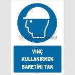 ZY1447 - ISO 7010 Vinç Kullanırken Baretini Tak