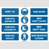 ZY1458 - ISO 7010 Türkçe İngilizce, Baret Tak, Eldiven, Ayakkabı, Giysi Giy, Wear Helmet, Shoes, Gloves, Clothing