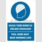 ZY1464 - Türkçe İngilizce Havuza Yüzme Bonesi İle Girilmesi Zorunludur, Pool Users Must Wear Swimming Caps