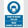 ZY1481 - Türkçe İngilizce Bone ve Maske Kullan, Wear Hairnet and Mask