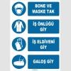 ZY1490 - Bone ve Maske Tak, İş Önlüğü Giy, İş Eldiveni Giy, Galoş Giy