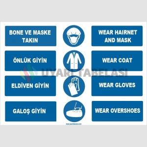 ZY1494 - Türkçe İngilizce Bone, Maske, Önlük, Eldiven, Galoş Giy, Wear Hairnet, Mask, Gloves, Coat, Overshoes