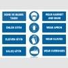 ZY1496 - Türkçe İngilizce Bone, Maske, Önlük, Eldiven, Galoş Giy, Wear Hairnet, Mask, Gloves, Apron, Overshoes