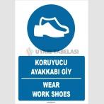 ZY1514 - Türkçe İngilizce, Koruyucu Ayakkabı Giy, Wear Safety Shoes