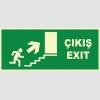 YT7663 - Fosforlu Acil Çıkış/Exit, merdivenden yukarı