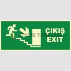 YT7664 - Fosforlu Acil Çıkış/Exit, merdivenden aşağı