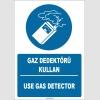 ZY1762 - ISO 7010 Türkçe İngilizce Gaz Dedektörü Kullan, Use Gas Detector